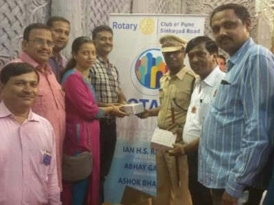 Under the banner of our rotary club Pune Sinhagad road, offered eye drops to police personnel busy in bandobast during ganapati immersion procession.